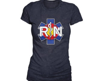 Women's Colorado Flag RN Shirt / Nurse Shirt