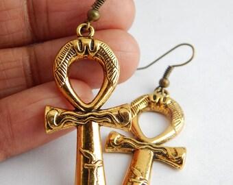Sale Gold Ankh Earrings Ankh Pendant Gold Ankh Earings Egyptian Symbol Gift Idea Egyptian Jewelry African Egyptian Earrings Ankh Jewelry