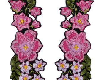 Iron On Embroidered Flower Patch, 2 PCS. Mirror Floral Patches, Pink Flower Applique, Iron on Applique Patches, Various sizes and colors