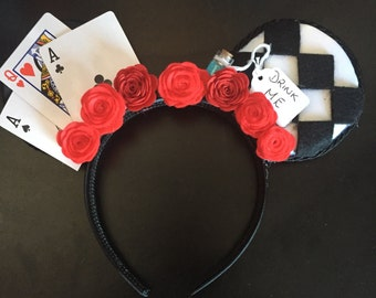 Alice in Wonderland And Queen of Hearts Inspired Mouse Ears