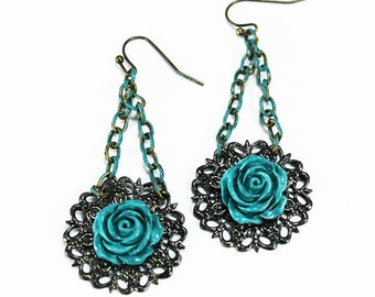 Vintage Style Turquoise Rose Earrings