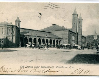 Old Railroad Depot Station Providence Rhode Island 1906 postcard