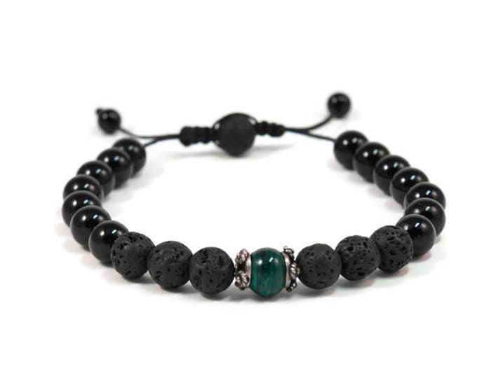 Urban Men's Onyx, Lava & Malachite Pull Tie Single Bracelet. Boho Jewelry. Bohemian Jewelry. Ideas for him. Gift for him.