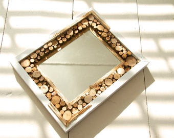 Rustic Mirror Art made to measure order, branch and stick cut section design framing central mirrored element.