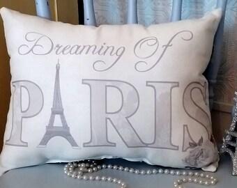 Gray Dreaming Of Paris Eiffel Tower Pillow, French Pillow, French Cushion,Elegant French Decor, Parisian Home Decor