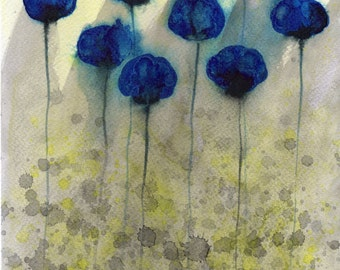 Watercolor Painting: Watercolor Flower Painting -- Art Print --  Foggy Day Flowers -- Blue Flowers -- 8x10