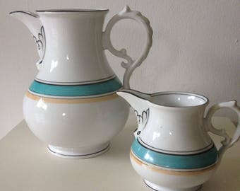 Antique KPM Coffee pot and cream jug, hand painted