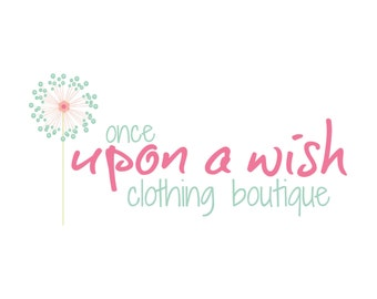 Dandelion Logo - Boutique Etsy Logo - Branding Design - Photography Logo - Watermark - Childrens Clothing Logo - Pink Aqua - JPG PNG