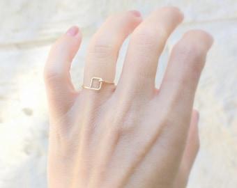 Tiny square gold ring - Minimal ring - Dainty ring - Rose Gold Square ring - Tiny gold ring - Silver Thin ring Minimalist Stacking ring