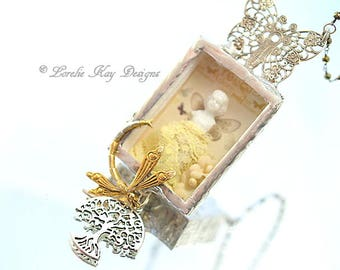 Nature Girl Frozen Charlotte Doll Necklace Soldered Box Mixed Media One-of-a-Kind Lorelie Kay Original