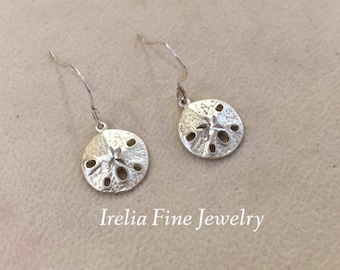 SALE ITEM: Sterling Silver Sand Dollar Earrings Beach Souvenir Earrings  --Free Shipping --