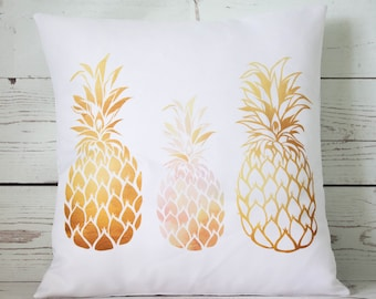 "Tropical Golden Pineapples - 16"" Cushion Pillow Cover Retro Shabby Vintage Chic"