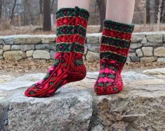 Wool socks hand knitted socks Wool Slippers Fair trade warm socks Azerbaijani socks Cozy socks Hand knit long socks knit slipper socks women