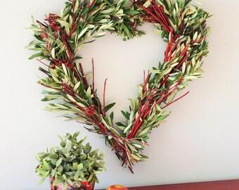 Valentine's Day Heart Wreath   Winter Wreath for Front Door   Wreaths for Winter   Heart Shape Wreaths   Valentine's Day Gift   Housewarming