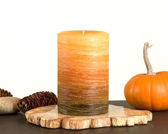"Orange to Brown Layered Rustic Pillar Candle - 4 x 6"" - Large Pillar Candle - Fall Decor - Boho Candle"
