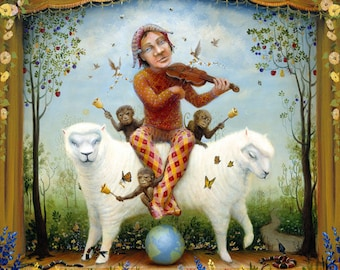 Enchantimals Jester Playing Violin Riding Two-Headed Sheep