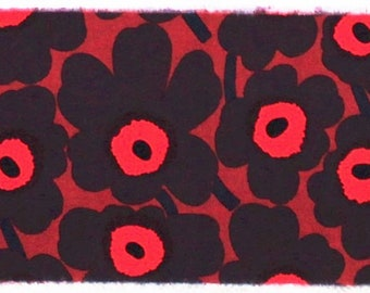 Marimekko fabric Mini Unikko, red/brown 145x18cm by Maija Isola