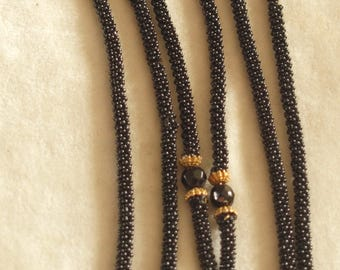Slinky Black Flapper Bead Rope Necklace