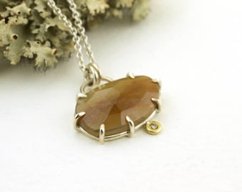 Rust Orange Natural Rose Cut Sapphire Diamond Pendant Sterling Silver 18 Karat Yellow Gold
