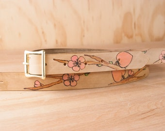 """Custom Leather Ukulele or Mandolin Strap - 1"""" wide - Peachtree Pattern with Custom Inscription - Flowers in Pink and Antique Brown"""