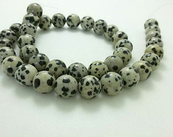 3  Full Strands 8mm 10 mm  Natural Dalmatian Jasper Beads , Gemstone Beads , Stone Beads , Gemstone jewelry , beads , Findings , supplies