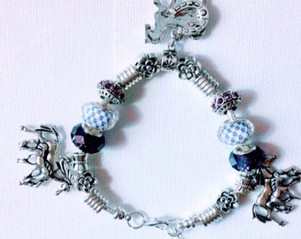HORSE PONY Stunning Charm Bracelet silver charms crystals purple silver beads