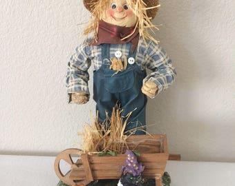 VINTAGE Scarecrow Figurine with Wheelbarrow Cat, Pumpkin Straw Felt Bottom