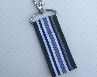 Midnight Waves Chapstick Holder- Black and White Stripe Ribbon Lip Balm Holder