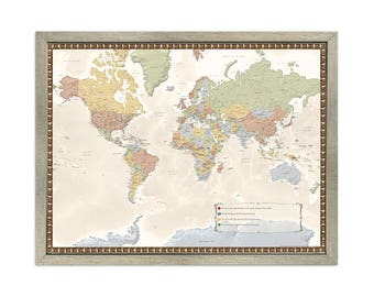 Choose Your Frame Personalized World Map with Pins - Push Pin Travel Map-34 x 26 - Framed World Map-Great Gift-Travel Map-Home Decor