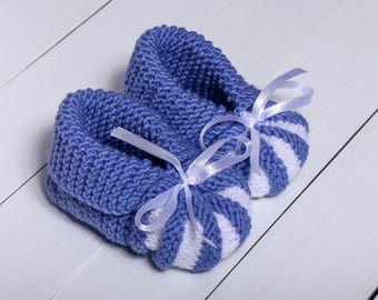 Blue baby booties Baby boy booties Knitted baby booties Baby booties Baby booties boy Baby booties crochet Toddler booties Blue baby shoes