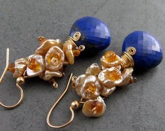 Lapis earrings, handmade OOAK 14k gold filled citrine, pearl earrings-Luxor