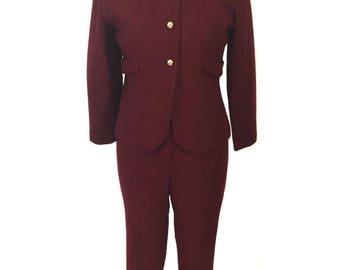 vintage 1960's tweed pant suit / red black / jacket cigarette pants / wool blend / women's vintage suit / size small