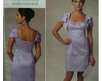 Badgley Mischka Fitted Dress Pattern, Lined, Open Neck, Cap Sleeves, Neckline Pleats, Vogue No. 1230 UNCUT Size 16 18 20 22