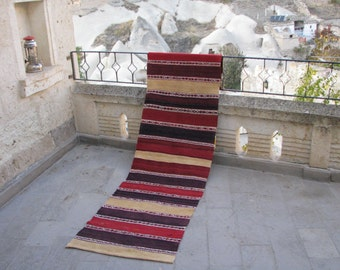 STRIPED HALLWAY RUNNER-Kilim Abstract-Striped Kilim-Vintage Turkish Kilim Rug-Kilim Hallway Runner-Hand-Made Kilim Runner-Minimalist Kilim