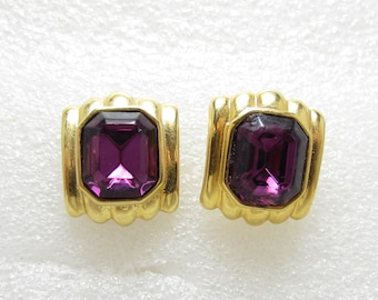 Faux Amethyst Purple Rhinestone Gold Tone Earrings Post Pierced Vintage Costume Jewelry