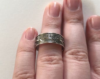 Vintage Oxidized Lion Relief Design 925 Sterling Silver Cuff/Toe Ring