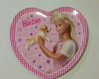 Vintage Barbie Pretty in Pink child's plate, 1996 Mattel dish