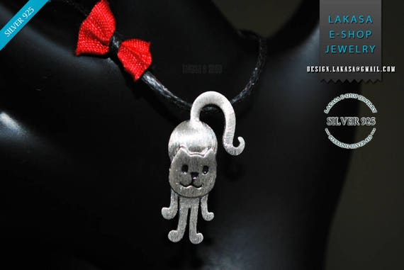 Cat Necklace Sterling Silver Handmade Jewelry Best idea Gift girlfriend catlovers birthday anniversary love woman girl cute animal greek art