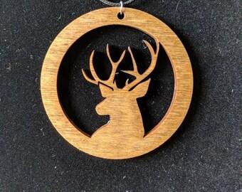 Wooden circular deer pendant necklace