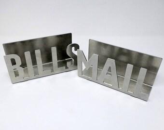 Metal Mail holder or Bill holder   mail holder for desk mail orgainizer rustic mailholder letterholder metal offic decor entryway storage