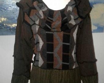 plus,dress,one of a kind,upcycled clothing,bohemian,upcycled sweater,boho,eco friendly,plus size sweater,recycled sweater,repurposed
