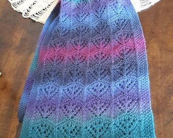 SCARF BLUE / turquoise wool and silk