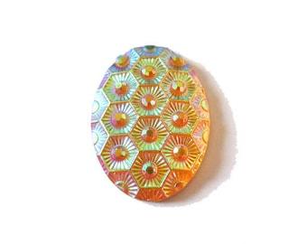 1 x cabochon embellishment resin oval 25x17mm salmon AB (iridescent)