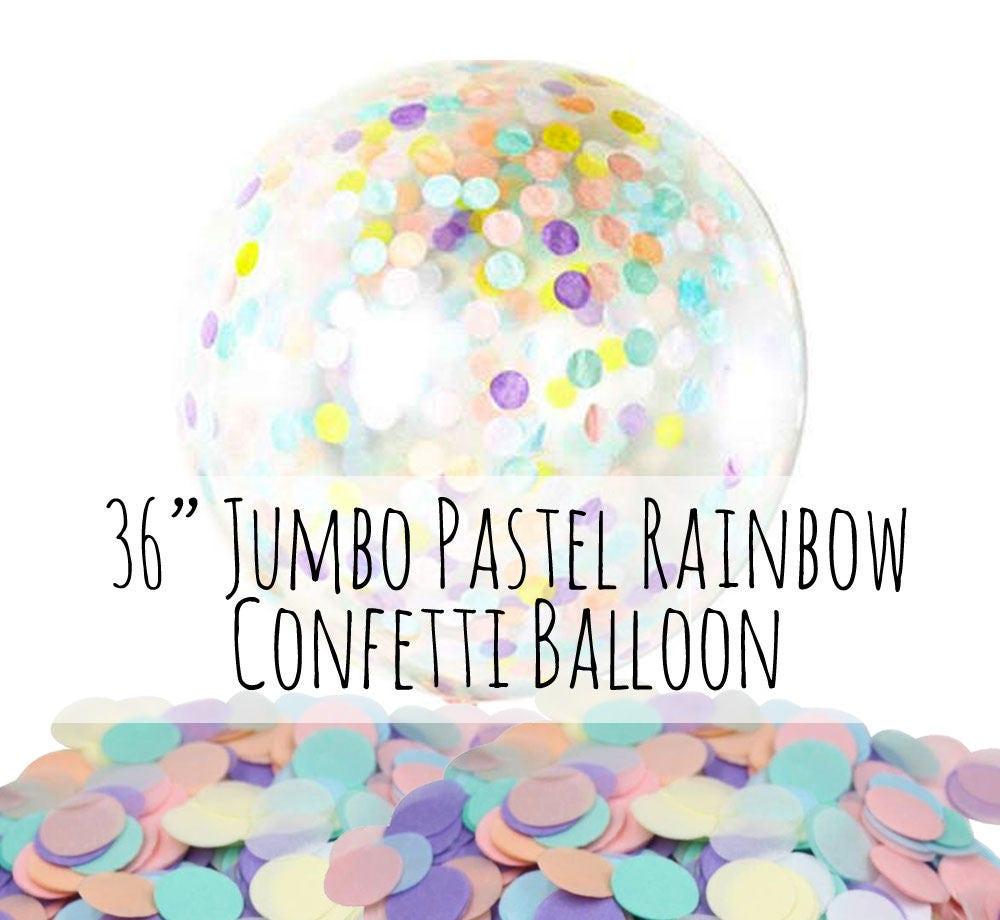 36 Extra Large Pastel Rainbow Confetti Balloon Unicorn