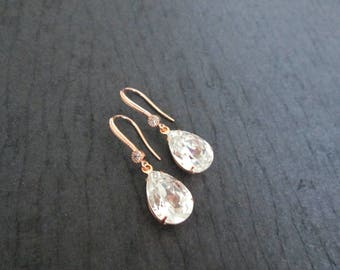 NEW Rose Gold Bridesmaid Earrings/Swarovski Clear Crystal Earrings/Swarovski Earrings/Rose Gold Bridesmaid/Rose Gold Bridal Jewelry