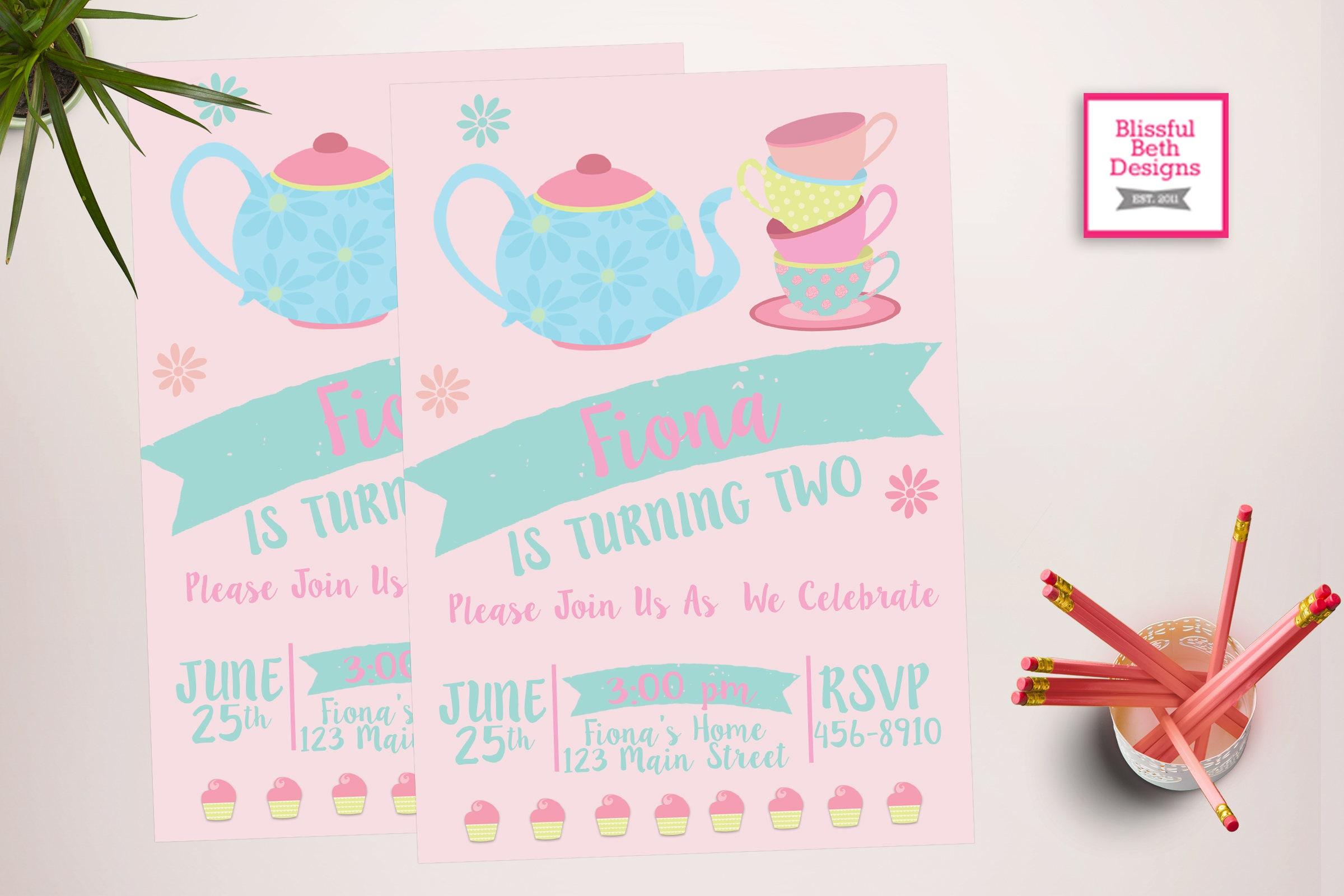 MODERN TEA PARTY, Tea Party Birthday Invite, Printable Tea Party ...