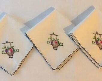 Cross-Stitched Handkerchiefs Hankies Set of 3