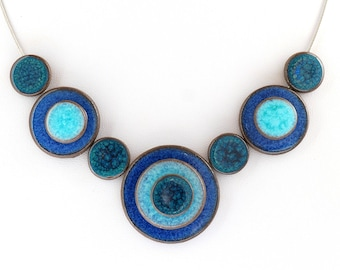 Necklace handcrafted ceramic - 'confetti' trio of blue 2 model