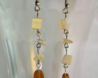 Cat's eye dangle earrings, tan earrings, glass bead, chained dangle earrings, handmade, unique, tan earrings, dangle earrings, gifts for her