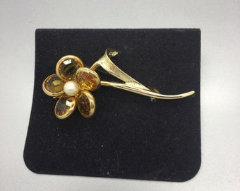 Amber & Pearl Flower Brooch Sarah Coventry Vintage Jewelry